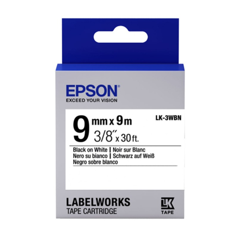 Epson Lk 3wbn 9mm Black On White Tape